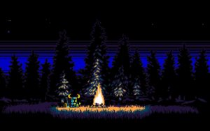 Shovel Knight sitting by a campfire, perhaps listening to some sweet tunes.