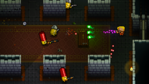 A scene form Enter the Gungeon where a convict is firing on multiple living bullet people who are armed with guns.