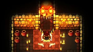 A bullet-shaped door with flaming eyes opens before an explorer.