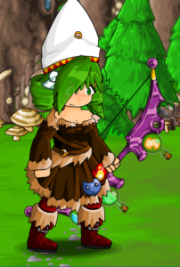 An archer wearing a pope's hat, a fur dress, wielding a bow covered in glass vials