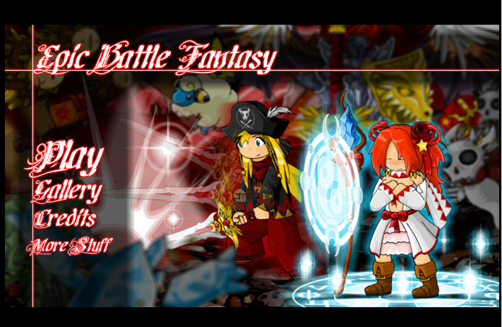 The epic battle fantasy title screen