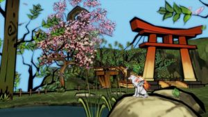 Amaterasu relaxes by a pond.