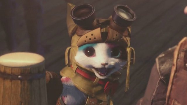 A small cat-like creature in leather armor smiles at the viewer.