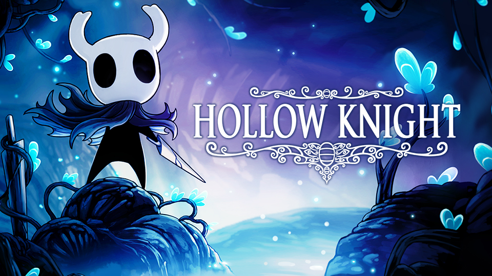 The Hollow Knight logo. A little masked knight stands to one side.