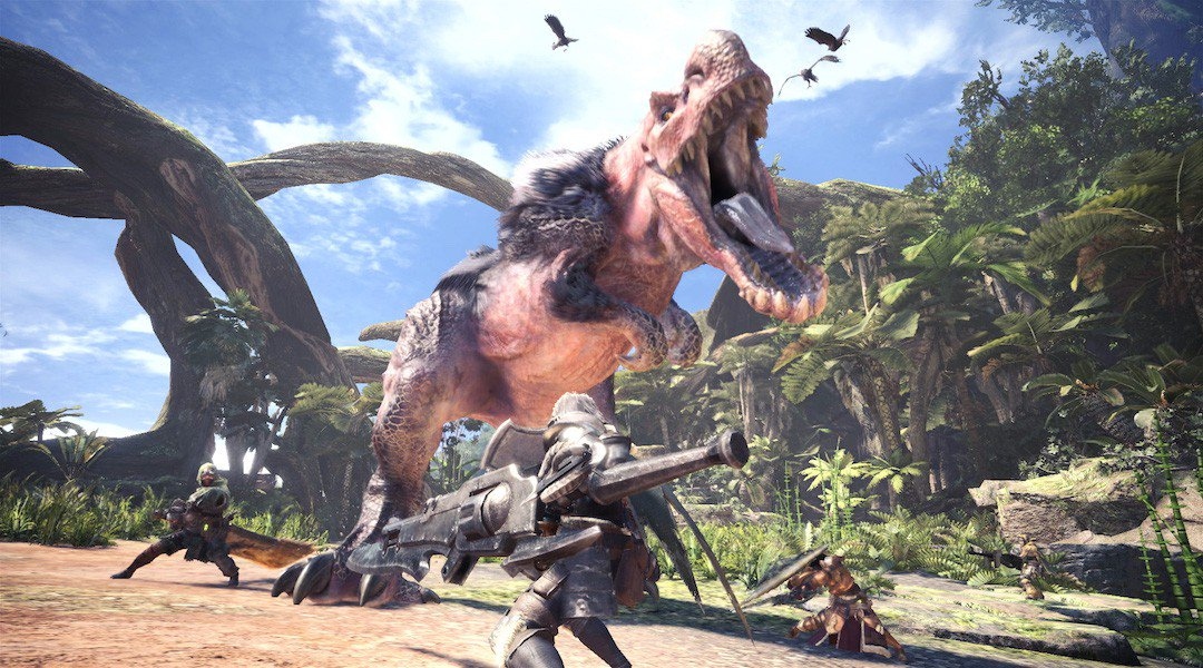Three hunters face off against a large Tyrannosaurus-like monster.