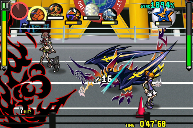 Neku and his partner fight a dragon made of graffiti.